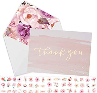 $20 » 100 Thank You Cards with Envelopes -Gold Foil Watercolor Card with Floral Envelopes &Stickers- Weddings Bridal Showers Bab...