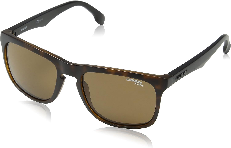Carrera 5043 s Polarized Rectangular Sunglasses, Matte Havana, 20 mm