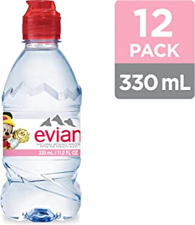 evian Natural Spring Water Mickey Mouse Edition 330ml 11.2 Oz. 12Count, Water Bottles With Sports Cap, Naturally Filtered Spring Water in Individually-Sized Mickey Mouse Bottles
