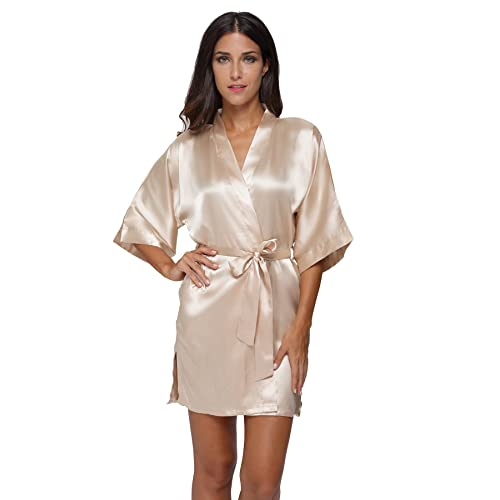 244075a875c The Bund Women s Pure Colour Short Satin Kimono Robes with Oblique V-Neck