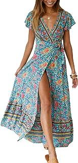 Women's Wrap Maxi Dress Short Sleeve Belted Split Long Dress Floral Print Flowy Boho Beach Dress