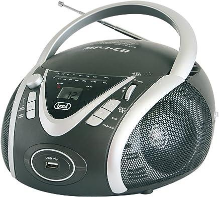 Trevi CMP 542 USB Stereo Portatile Boombox con Lettore CD, Mp3, USB, Radio, Grigio