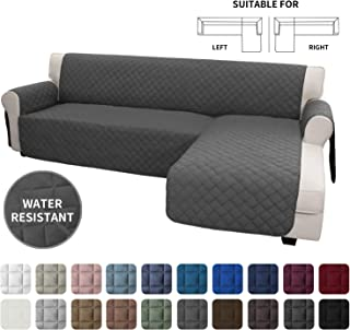 Easy-Going Sofa Slipcover L Shape Sofa Cover Sectional Couch Cover Chaise Lounge Slip Cover Reversible Sofa Cover Furniture Protector Cover for Pets Kids Children Dog Cat(Large,Dark Gray/Dark Gray)