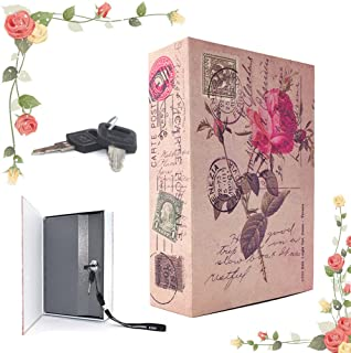 EIOU 9.6 x 6.2 x 2.2 inches Beatiful Rose Inches Book Safe with Key Lock, Metal,safe for money