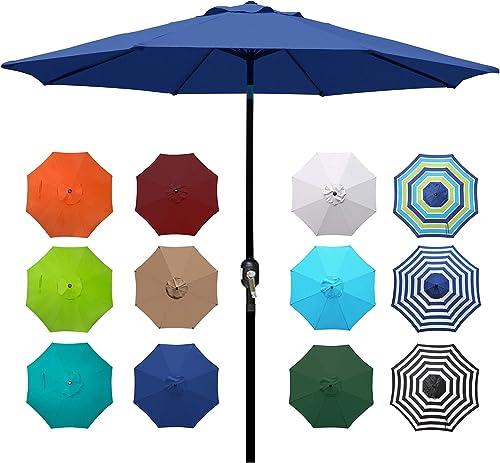 new arrival Blissun 9' Outdoor Aluminum Patio Umbrella, Market new arrival Striped Umbrella with Push Button outlet sale Tilt and Crank outlet online sale