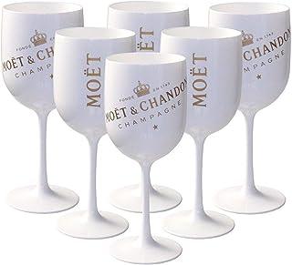 6 x Moët & Chandon Ice Impérial Acryl-Glas Champagner Gläser-Set in weiß/gold Champagne Becher Kelche inkl. Untersetzer 6 Stück