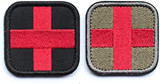 2pcs Bundle - Embroidered Medic Cross Tactical Patch with backing red & black / Red & Green Decorative Badge appliques