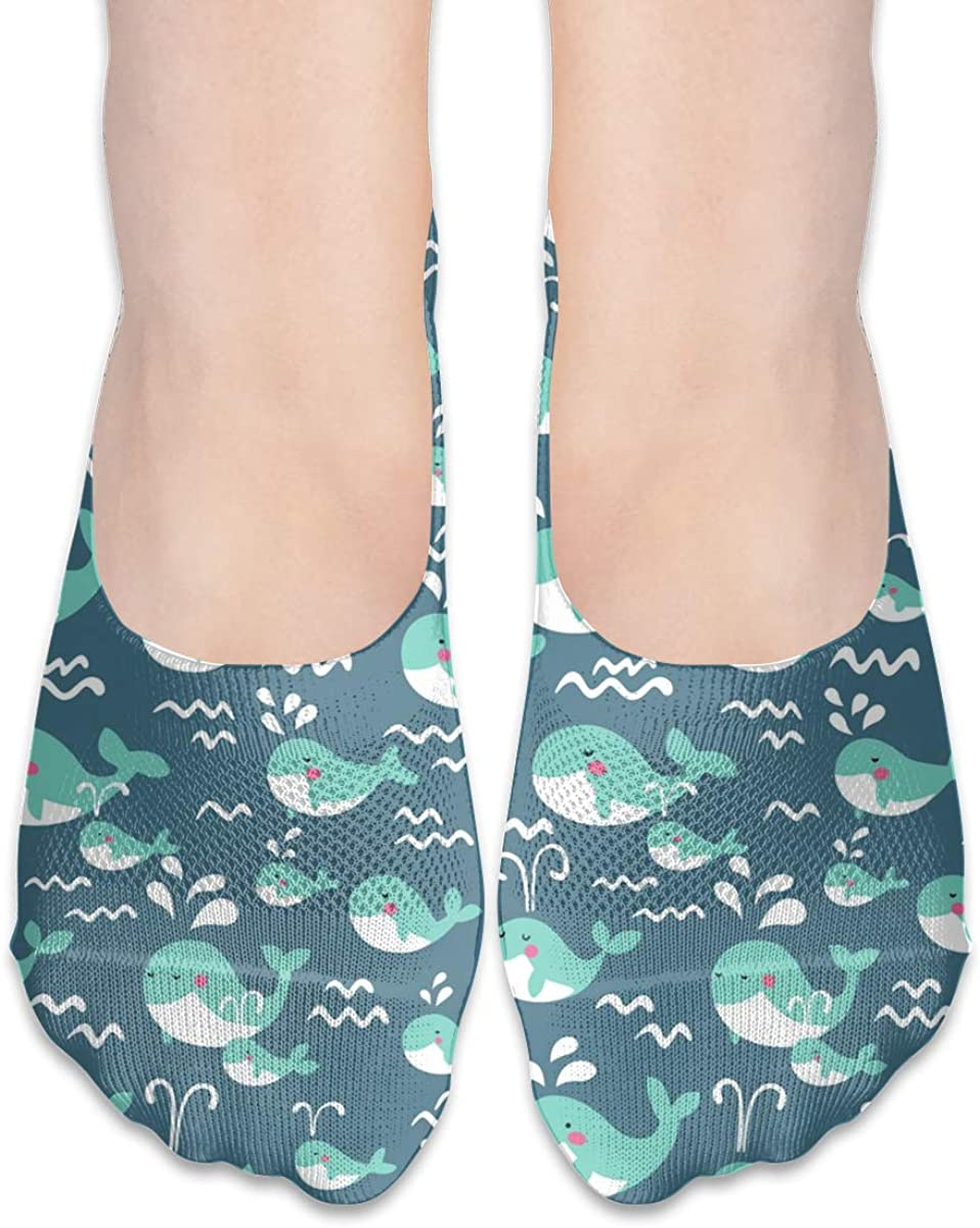 No Show Socks Women Men For Cute Kawaii Whales Flats Cotton Ultra Low Cut Liner Socks Non Slip