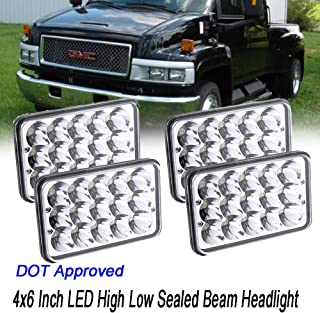 DOT Approved 4X6 Inch Upgrade LED Headlights for GMC C4500 5500, Rectangular Sealed Beam H4651 H4652 H4656 H4666 H6545 Headlamps High Beam/Low Beam Conversion Kit Super Bright 4PCS