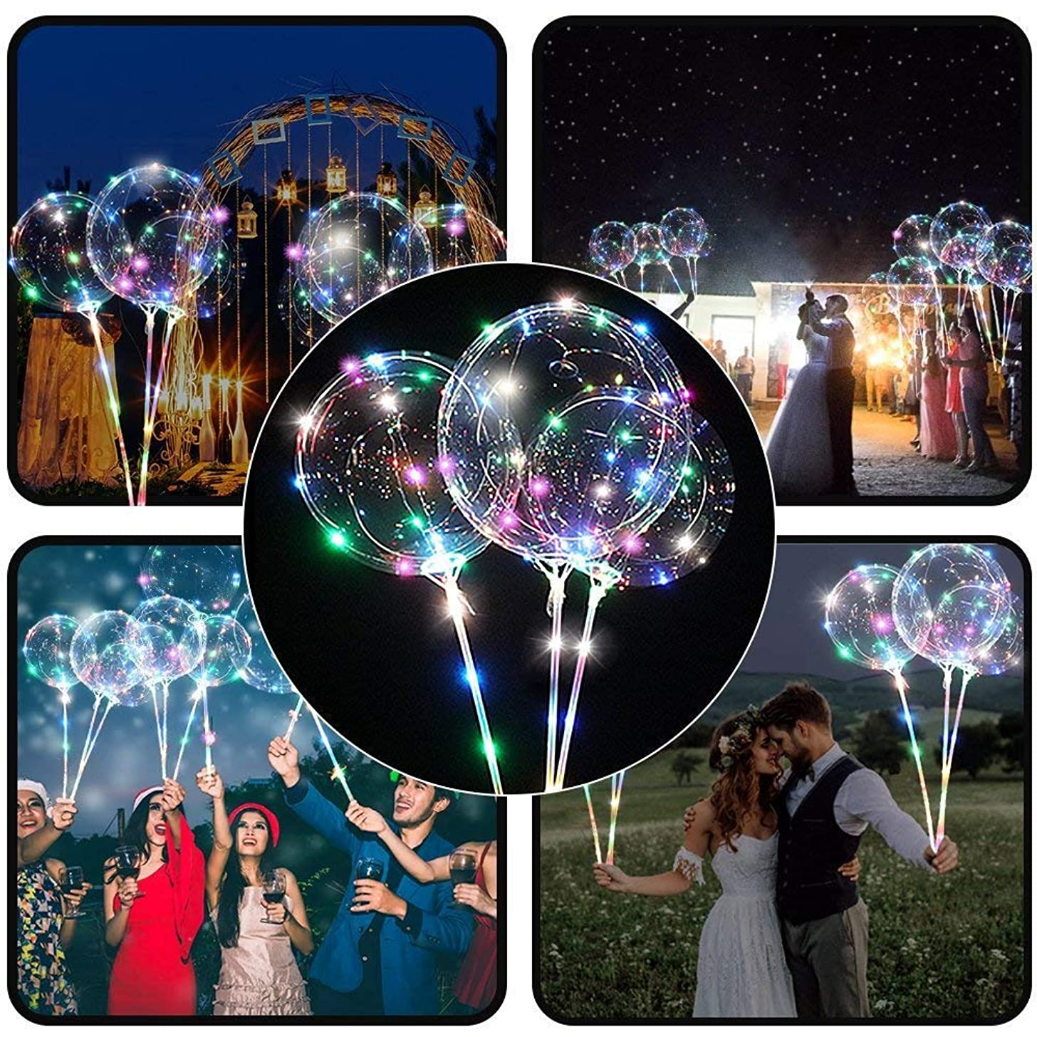 M·KVFA LED Balloon with Cup Light Up Balloons Decoration Party Latex Transparent Balloons Birthdays Wedding Carnival Parties Bar Bookstore (1x LED Balloon+1 x LED Rope+2 x Sticks, Multicolor)
