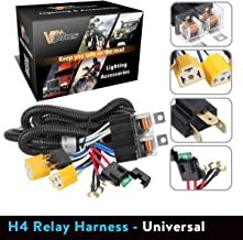 Partsam H4 9003 Headlight Relay Wiring Harness Kit High Low Beam Heat Ceramic Socket Plugs Compatible with Toyota Pickup Tacoma 7x6 5x7 H6054 Headlights Fix Dual Ground Problem