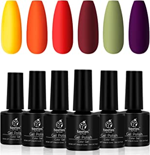 Beetles Gel Polish Set, Sunset Leaves Set Yellow Orange Gel Nail Polish Kit Autumn Fall Winter Soak Off UV Nail Lamp LED Cured, 7.3ml Each Bottle for Nail Art