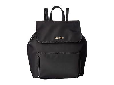 Calvin Klein Abby Nylon Backpack (Black/Black) Backpack Bags