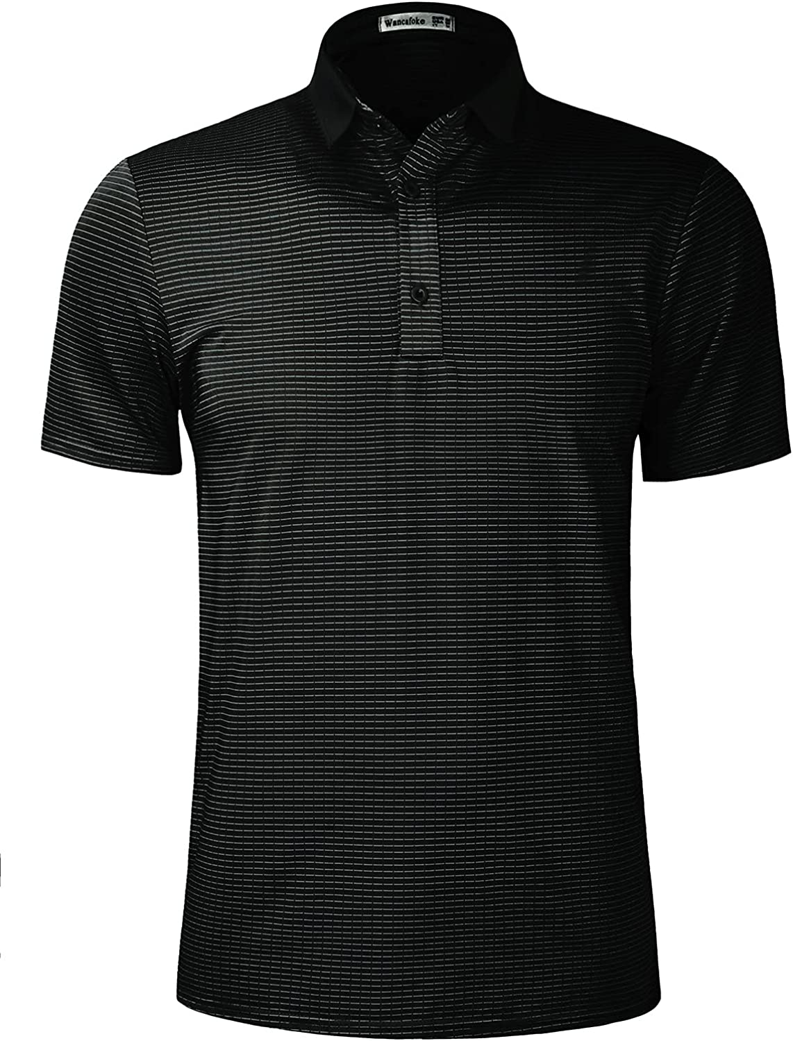 Special sale item Wancafoke Mens Striped Performance Golf security Shirts Shor Dry Polo Fit