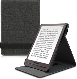 kwmobile Cover for Pocketbook InkPad 3/3 Pro - PU Leather e-Reader Case with Built-in Hand Strap and Stand - Fabric Dark Grey