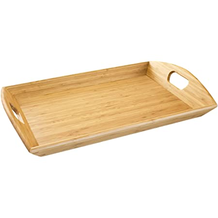 Details about  /Greenco Bamboo Angular Sides Butler Serving Tray With Handles High Quality New
