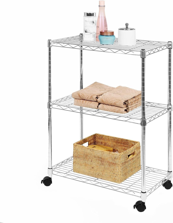 Seville Classics 3-Tier UltraZinc Shelving Cart, 13  D x 22.5  W x 32  H