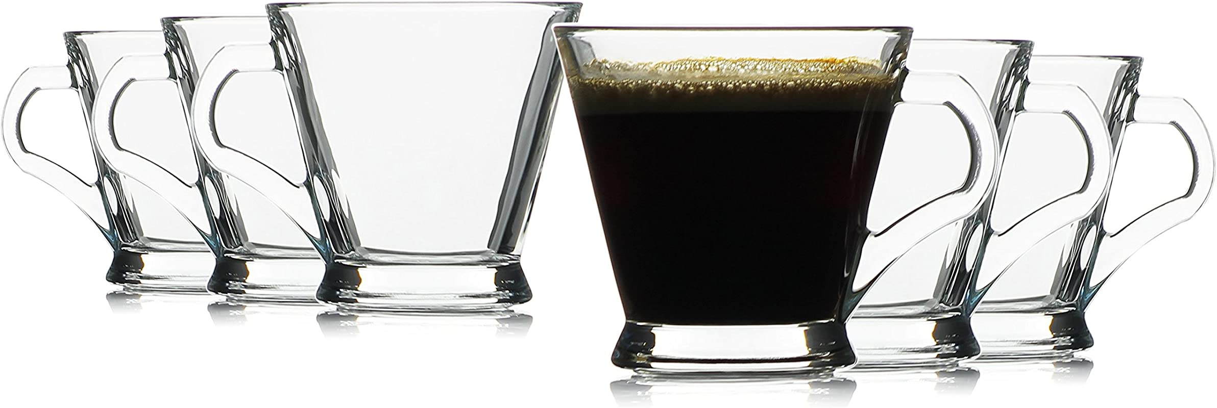 Hikari 6oz Espresso Glass Cups W Handles Keeps Beverages Hot Perfect For Nespresso Coffee Cappuccino Or Any Other Short Drinks Set Of 6 Gift Boxed