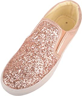 Absolute Footwear Womens Casual Slip On Glitter Summer/Holiday Pumps/Trainers/Shoes
