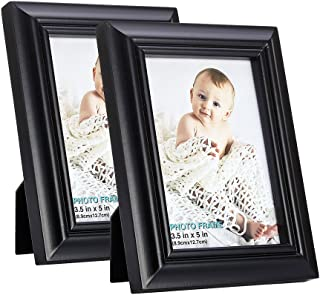 RPJC 3.5x5 Picture Frames (Set of 2) Made of Solid Wood High Definition Glass for Table Top Display and Wall Mounting Photo Frame Black