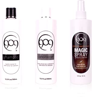 909 Shampoo, Conditioner and Magic Spray Detangler Kit | Silk Amino Protein Shampoo and Conditioner with Aloe Vera Extract Detangler 3 Piece Set for 100% Remy Human Hair Extensions and Wigs (12 oz)