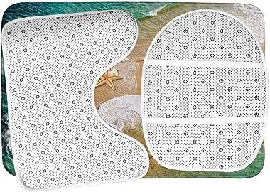 Juego De Alfombra De Baño Suave Antideslizante De 3 Piezas Alfombrilla De Baño Surf Beach Starfish+Cubierta De Asiento De Ino
