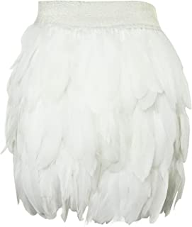 Women's Real Natural Feathers Fashion Mid-Waist Mini A-Line Skirt Casual Skirt Halloween Party Feather Skirt