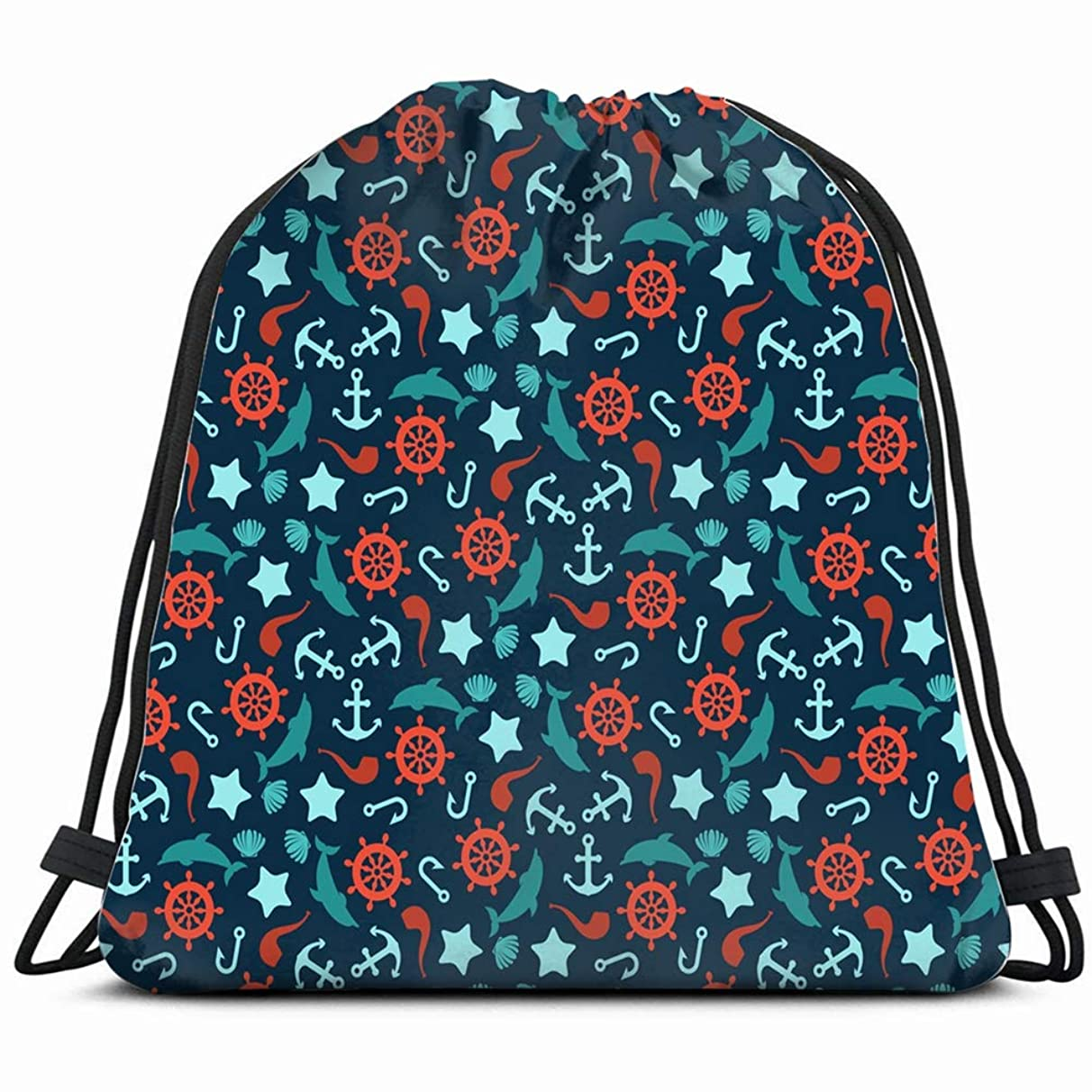 anchor wheel dolphins signs symbols Drawstring Backpack Gym Sack Lightweight Bag Water Resistant Gym Backpack for Women&Men for Sports,Travelling,Hiking,Camping,Shopping Yoga
