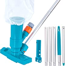 U.S. Pool Supply Portable Deluxe Jet Pool Vacuum Underwater Cleaner with 5 Section Pole, 3 Scrub Brushes, Leaf Bag, Telescopic Pole Attachment - Above Ground Pools, Spas, Ponds - Attach to Garden Hose