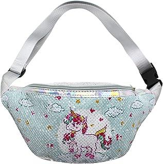 RARITYUS Reversible Glitter Sequins Waist Pack Fanny Pack Unicorn Crossbody Bag Chest Bag Bum Bag for Women Girls