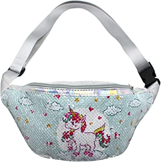 RARITYUS Reversible Glitter Sequins Waist Pack Fanny Pack Unicorn Crossbody Bag Chest Bag Bum Bag for Women Girls, Light Blue (Light Blue) - RAbb-191301100AR-05