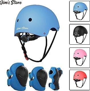 JIM'S STORE Schoner Set Knieschoner Inliner Kinder mit Verstellbaren Helm Protektoren Skateboard Helm Set Fahrrad Schützer Sport Schutzausrüstung
