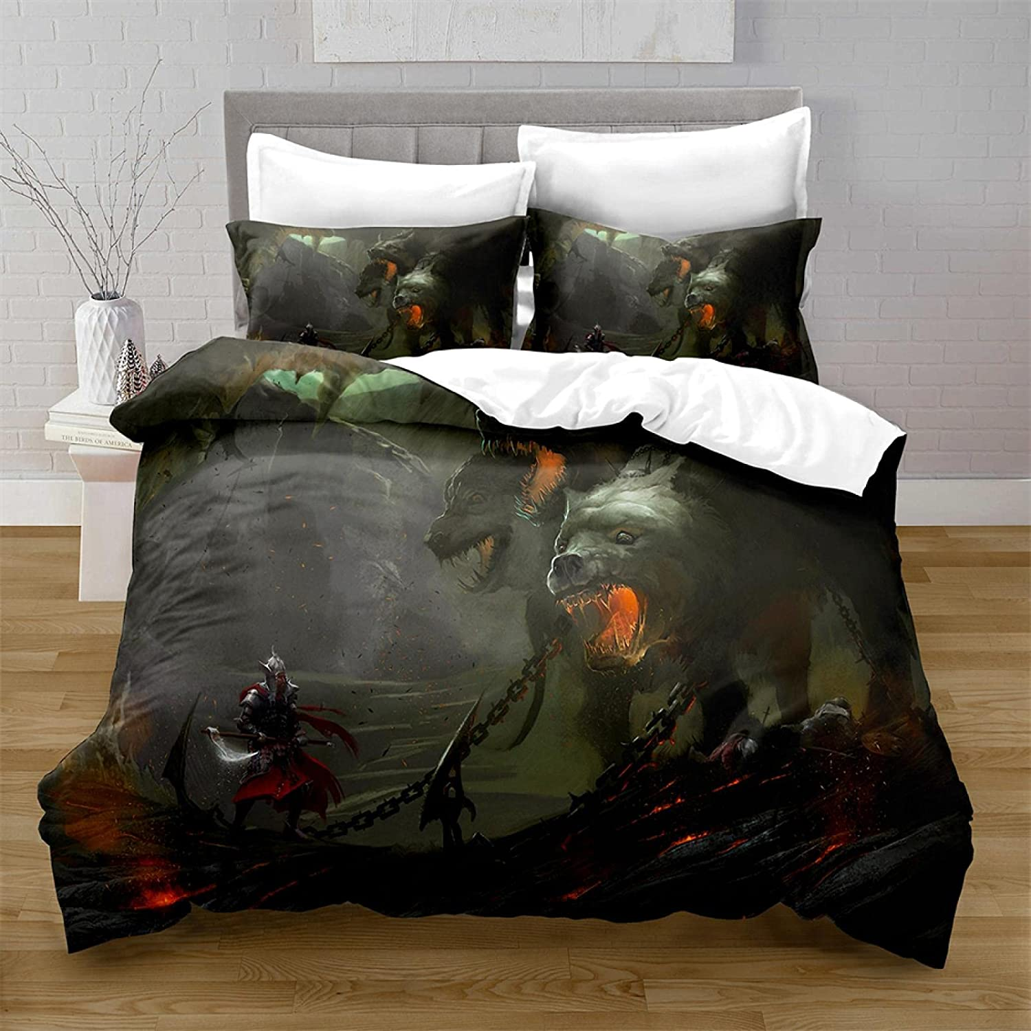 HQHM Duvet Cover Online limited product King 3 Pieces Character Horror Wolf 25% OFF 94X1 Animal