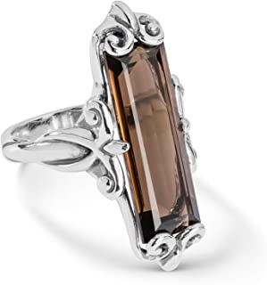 Carolyn Pollack Sterling Silver Lemon or Smokey Quartz Gemstone Baguette Ring Size 5 to 10