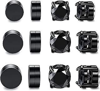Subiceto 6 Pairs Stainless Steel Magnetic Stud Earrings for Men Women Non Piercing CZ Clip On Earring Set 6mm-10mm