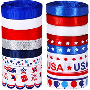 18 Rolls 90 Yards Bulk Patriotic Ribbons Red White Blue Striped Printed Ribbons Assortment 3/8 Grosgrain Ribbon Satin Ribbons GlitterRibbons Organza Ribbons for 4thofJuly Craft Gift Wrapping Sewing