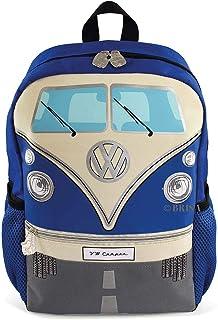 VW Collection - Volkswagen Furgoneta Hippie Bus T1 Van Mochila pequeña Vintage con portabotellas y Correas Ajustables, Equipaje para Escuela/Excursión/Deporte/Viaje (15L/Pequeña/Azul)