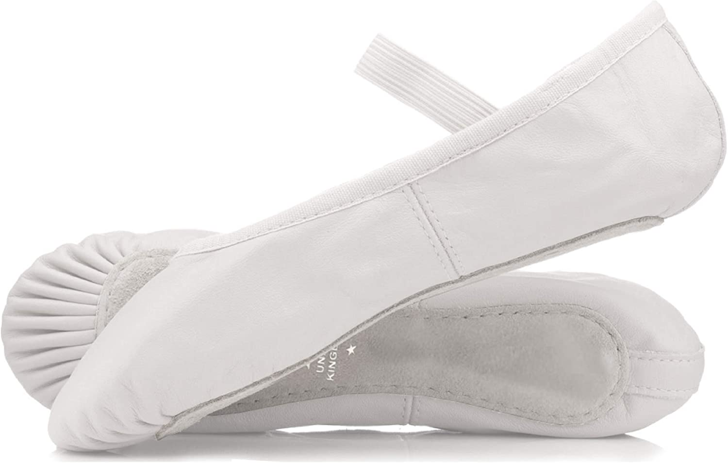 Roch Valley Ophelia Leather Ballet Shoes Attached elastic Black or White Pink