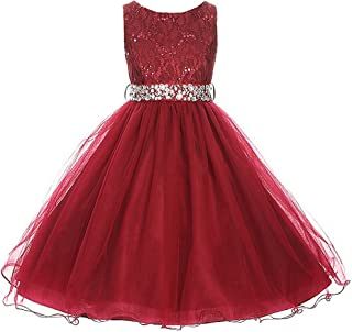 Glitters Sequined Bodice Double Layer Tulle Rhinestones Sash