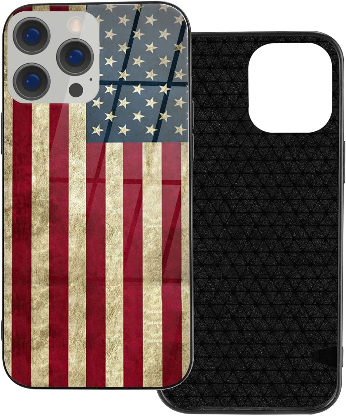 iPhone 12/12 Pro Case,USA American Flag iPhone Case for Men Women Boys Girls Teens,Tempered Glass Back Cover Anti Scratch Reinforced Corners Soft TPU Bumper Design Shockproof Case for iPhone 6.1 inch