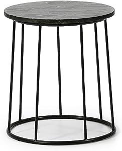 VS Venta-stock Tavolino Tavolino da caffè Rotondo Colombo con Piano d'appoggio in Marmo Nero e Gambe Metalliche di Colore Negro Opaco/Diametro: 35 cm