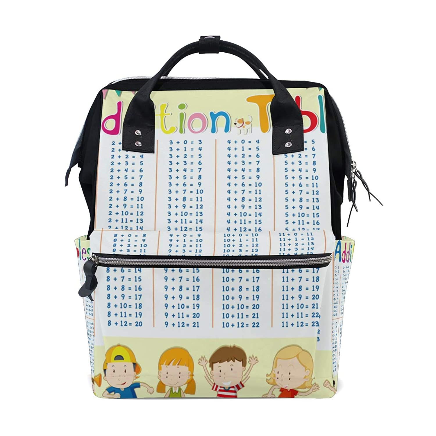 Kids Addition Multiplication Table School Backpack Large Capacity Mummy Bags Laptop Handbag Casual Travel Rucksack Satchel For Women Men Adult Teen Children