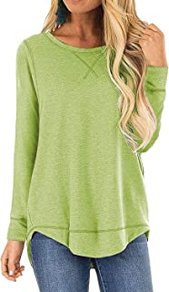 Women's Casual Long Sleeve Round Neck Tunic Tops Loose T Shirt Blouses
