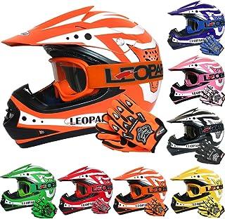 MX Quad ATV Sports Enduro Crash Helmet ECE 22.05 Certified 63-64cm Leopard LEO-X307 Motocross HELMET /& Motorcycle Gloves Red//Matt Black XXL