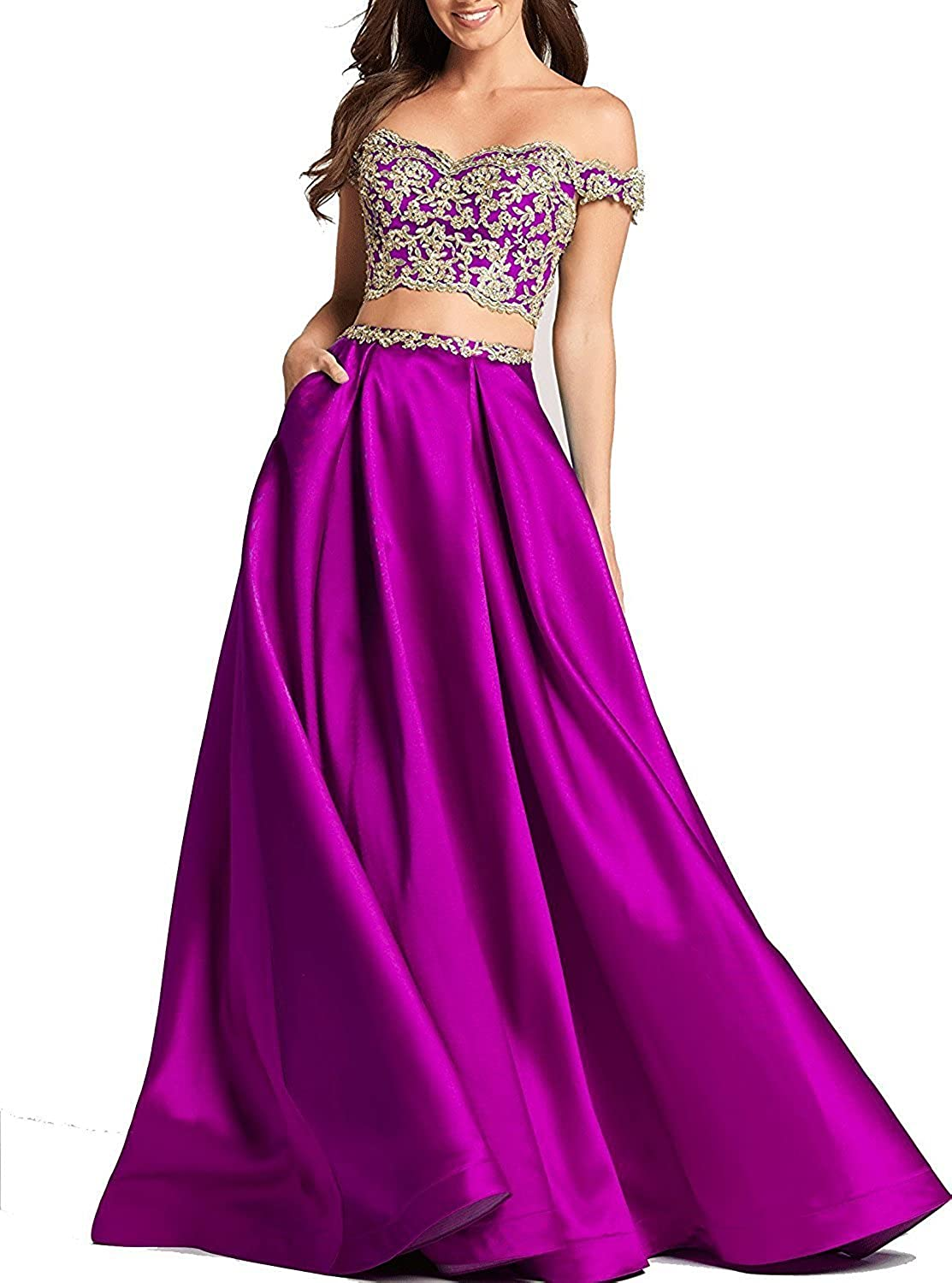 Awishwill Two Pieces Off Shoulder Prom Evening Dresses Cap Sleeve V Neck Formal Party Gown