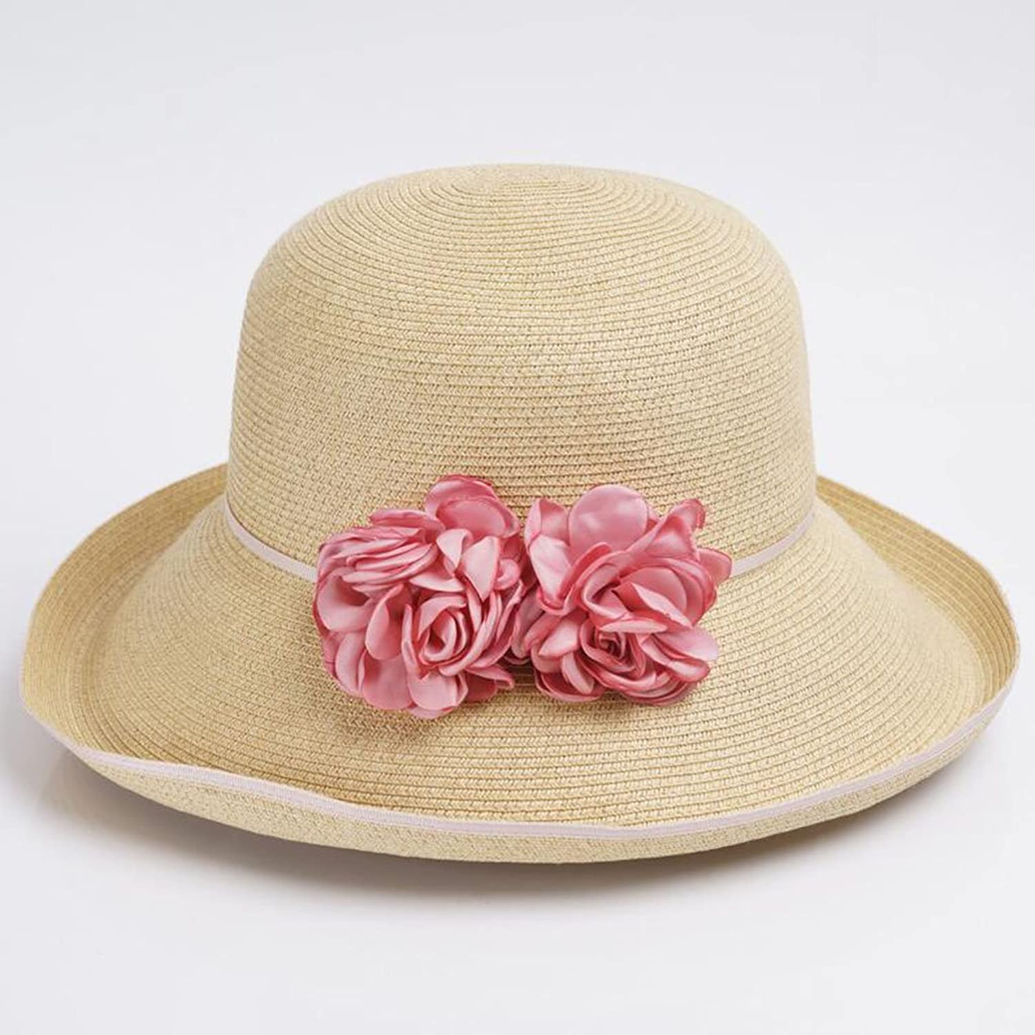 QZ Home Hat Female Spring and Summer Sun Predection Shade Sunhat Elegant Flowers Straw Hat Holiday Beach Hat (color   Pink Flowers)