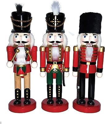 "Santa's Workshop 12"" The Kings Guards, Set of 3 Assorted Nutcracker, RED"