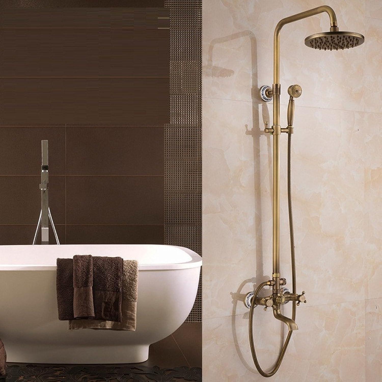 Antique copper shower faucet Shower all bronze Ceramic base bathroom redatable ceramic valve Hand shower