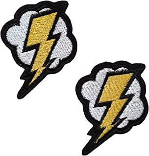2 pieces LIGHTNING BOLT Iron On Patch Fabric Motif Applique Flash Decal 2.8 x 2 inches (7 x 5 cm)