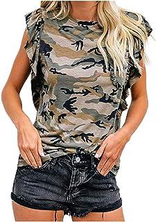 Women Sleeveles Tank Tops, Ladies O-neck Leopard Printed Ruffled Tunics T Shirt Blouse Tops